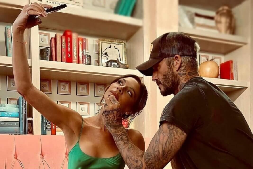 David Beckham doing makeup for Victoria